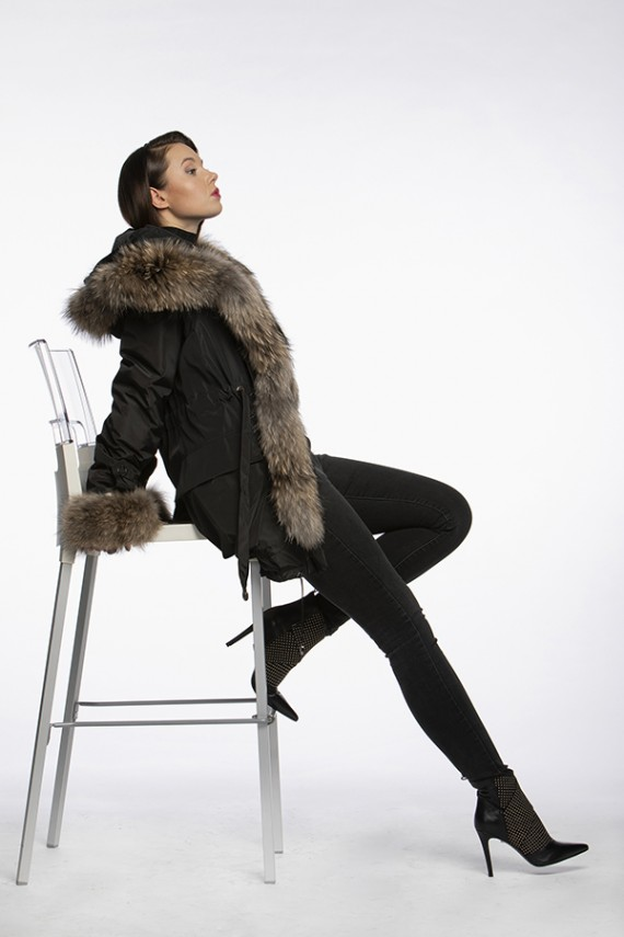 PARKA WITH RACCOON FUR TRIM